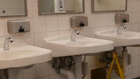 Motion of clean new public toilet room. Inside Coquitlam shopping mall stock footage