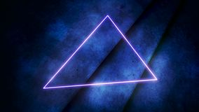 Motion colorful neon lights and triangle abstract background