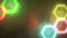 Motion colorful neon lights on wall, abstract background stock video footage