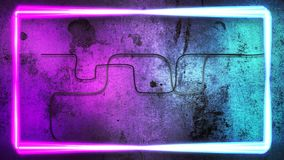 Motion colorful neon lights on wall, abstract background stock video