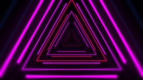 Motion colorful neon triangles, abstract background royalty free illustration