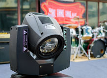 Motion concert spotlight illumination equipment and projectors ready to work stock image