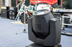 Motion concert spotlight illumination equipment and projectors ready to work royalty free stock image
