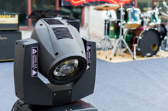 Motion concert spotlight illumination equipment and projectors ready to work royalty free stock photography