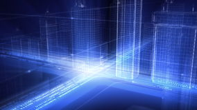 Motion in 3d city stock footage