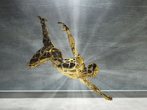 Motion. 3D render. Men's figure made of gold with light rays Stock Photos