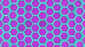 Motion design of geometric hexagon surface loop. Grid pattern of waving hexagones. Looped seamless animation. Cyan and. Violet colors royalty free illustration