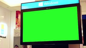 Motion of display big green screen tv stock video footage