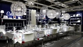 Motion of display dining room furniture stock video footage