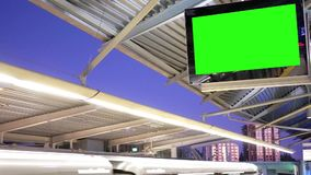 Motion of the display green screen tv at platform. In Burnaby BC Canada stock video