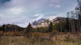 Motion dolly shot of cloudy afternoon in Banff National Park