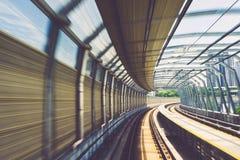 Motion effect of special design bridge Malaysian Mass Rapid Transit railway track. Image of Motion effect of special design bridge Malaysian Mass Rapid Transit Stock Images