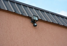 Motion Flood LED Light. How to Choose and Install Motion Detector Lighting. Motion Sensor. Stock Photography