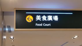 Motion of food court sign on roof inside shopping mall stock video footage