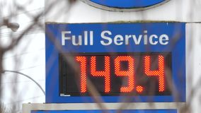 Motion of full service gas station sign showing the price. In BC Canada stock footage