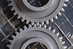 Motion gears - team force. Two motion gears - team force royalty free stock photography