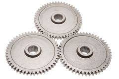 Motion gears - team force. Motion gears isolated white - team force stock photo