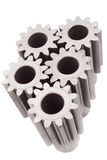Motion gears - team force. Motion gears - spare part isolated white royalty free stock photos