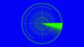 Motion graphic of blue color sonar radar screen searching line digital technology Loop background,