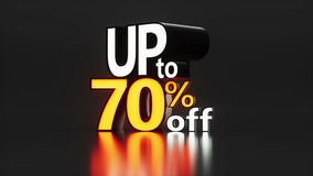 Motion graphic with 3d text for sales up to 70-85% off. Looped stock illustration