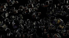 Motion graphics 3d looped animation as geometric black background in 4k with simple objects and depth of field. Dark royalty free illustration