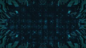 Motion graphics of hi-tech circuit board. Looping animation of the cyber world. Technology seamless loop abstract background.
