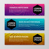 Motion graphics, wavy textured, liquid lines, mixed shapes, mesh pattern modern vector bright banners set Stock Images