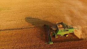 Motion of green combine harvester. stock footage