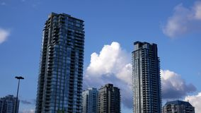 Motion of high-rise residential new buildings on cloudy stock video