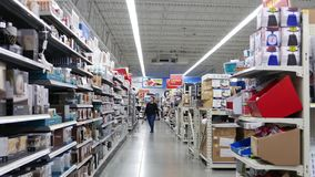 Motion of home decoration corridor. Inside Walmart store stock video