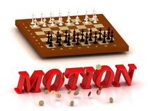 MOTION - inscription of red letters and chess Royalty Free Stock Photography