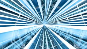 Motion Inside a 3D Blue Illuminated Tunnel stock footage