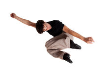 In motion jump 13. Isolated  In motion jump 13 Stock Images