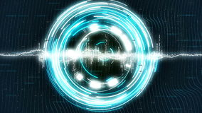 Motion loopable graphics with blue rotating circles on sci-fi background. 4k. Ultra HD Abstract loopable motion graphics with blue rotating circles on sci-fi stock video