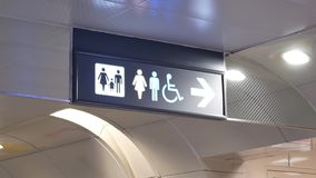 Motion of man, woman and disable washroom logo. On wall stock video footage