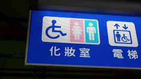 Motion of man and woman washroom logo inside MRT platform
