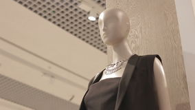 Motion from Mannequin in Black Dress to Ceiling with Soffits stock footage