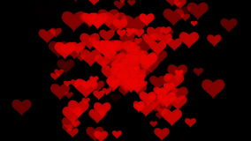 Motion many red small hearts backgrounds stock video footage