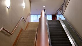 Motion of moving empty escalator inside shopping mall. In Burnaby BC Canada stock video