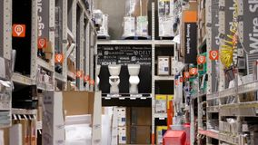 Motion of moving supplies and toilet corridor stock video