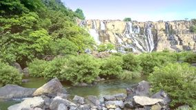 Motion over round stones to brushwood at waterfall stock footage