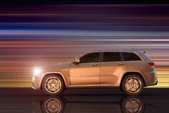 Motion panning of an SUV. 3D rendering of a motion panning of an SUV royalty free illustration