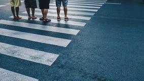 Motion of pedestrian zebra crossing or crosswalk in Asia. Stock Photo