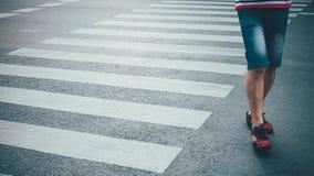 Motion of pedestrian zebra crossing or crosswalk in Asia. Stock Photos