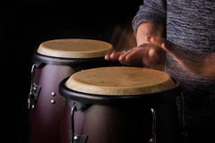Motion Picture of a bongo Player Stock Image