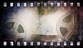 Motion picture film reel with photostrip Stock Photos