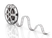 Motion picture film reel. On the white background Stock Images