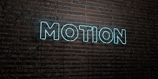 MOTION -Realistic Neon Sign on Brick Wall background - 3D rendered royalty free stock image. Can be used for online banner ads and direct mailers Royalty Free Stock Photo