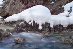 Motion of river water with snow on rocks Royalty Free Stock Images