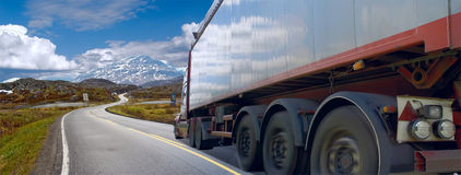Motion of the semi-truck on road Stock Photo